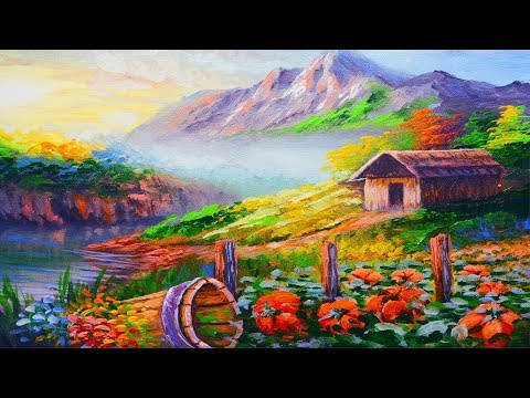 Acrylic landscape painting Barn House with Pumpkins and River | Acrylic Painting for Beginners