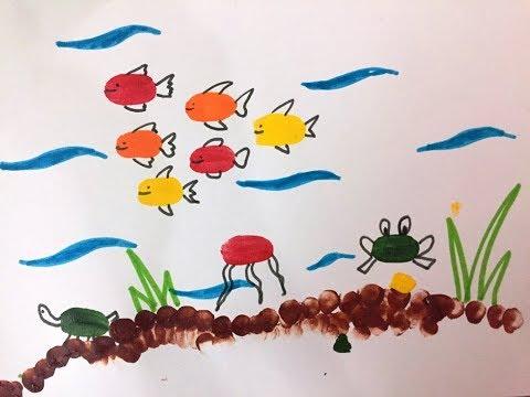 Underwater Scenery for kids| Thumb Painting | Finger Print