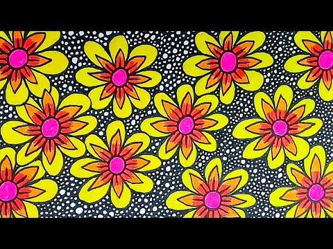 Seni Menggambar Batik Bunga Di Buku Gambar Youtube