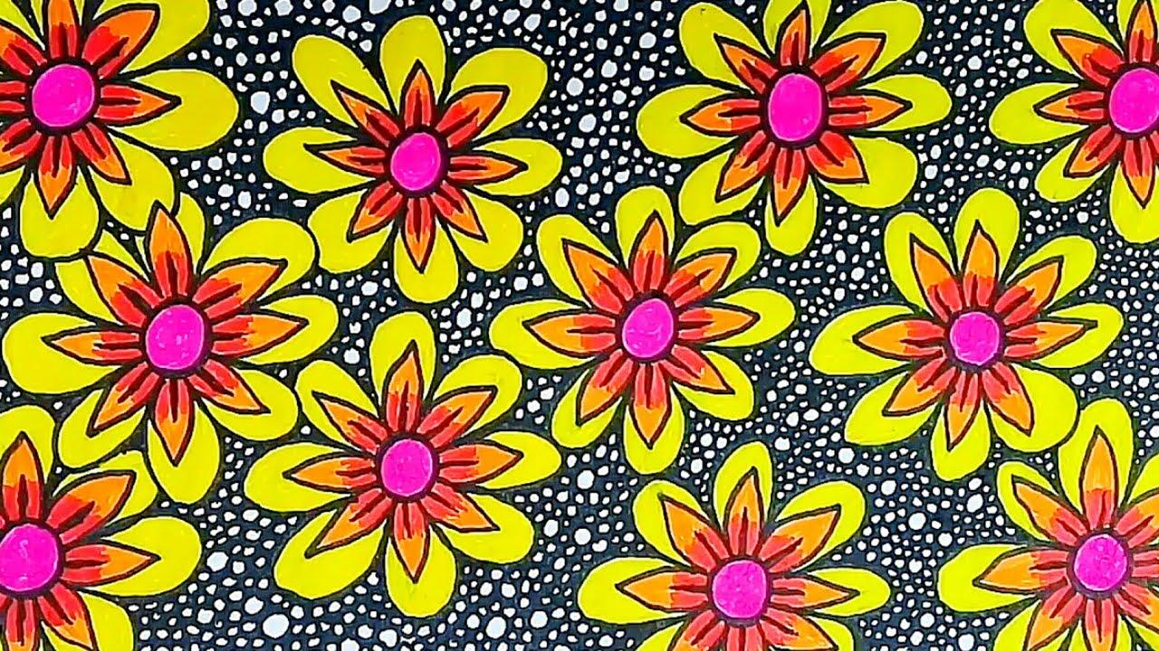 Seni Menggambar Batik Bunga Di Buku Gambar