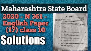 10th SSC English Paper 2020, Solution N-361 (SSC) Maharashtra State Board