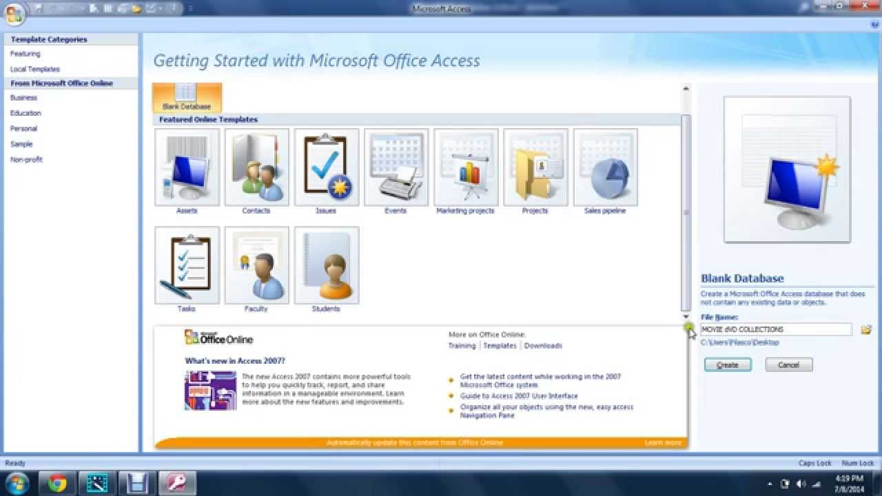 how to build movie collection database using ms access 101