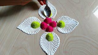 Peacock feather rangoli for Navratri and Diwali Dussehra festival