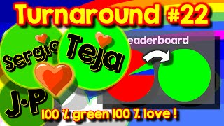 Agario Team Mode turnaround #22, 100% green, 100% love