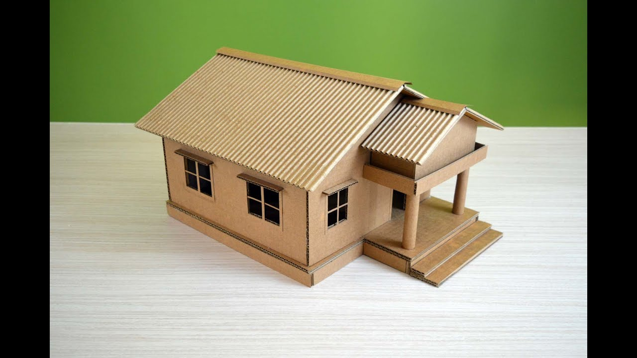 Make a Beautiful House from Cardboard - simple DIY - YouTube