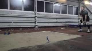 Прыжок c места с гирей 16kg на 3m35cm