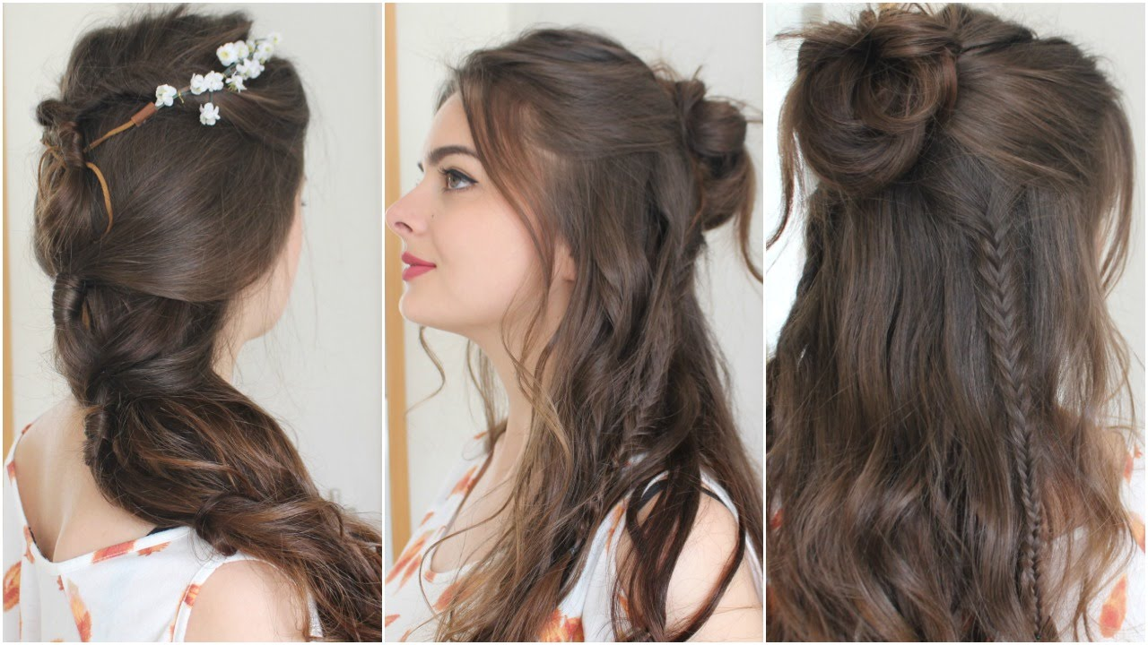 2 Boho Hairstyles Tutorial YouTube