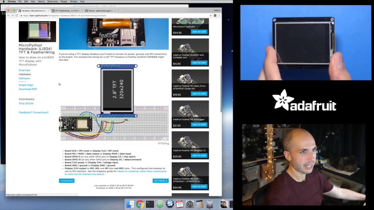 CircuitPython Hardware: ILI9341 TFT & FeatherWing