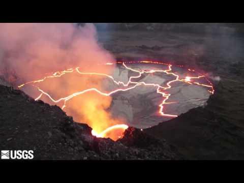Klauea lava lake spattering