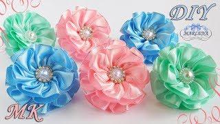 Бантики-резинки с самодельной серединкой МК/DIY kanzashi flowers