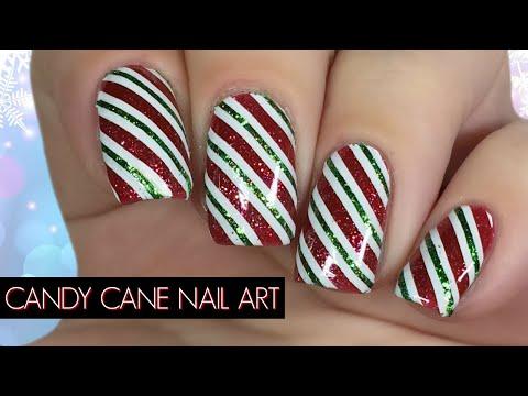 Candy Cane Christmas Nail Art Tutorial