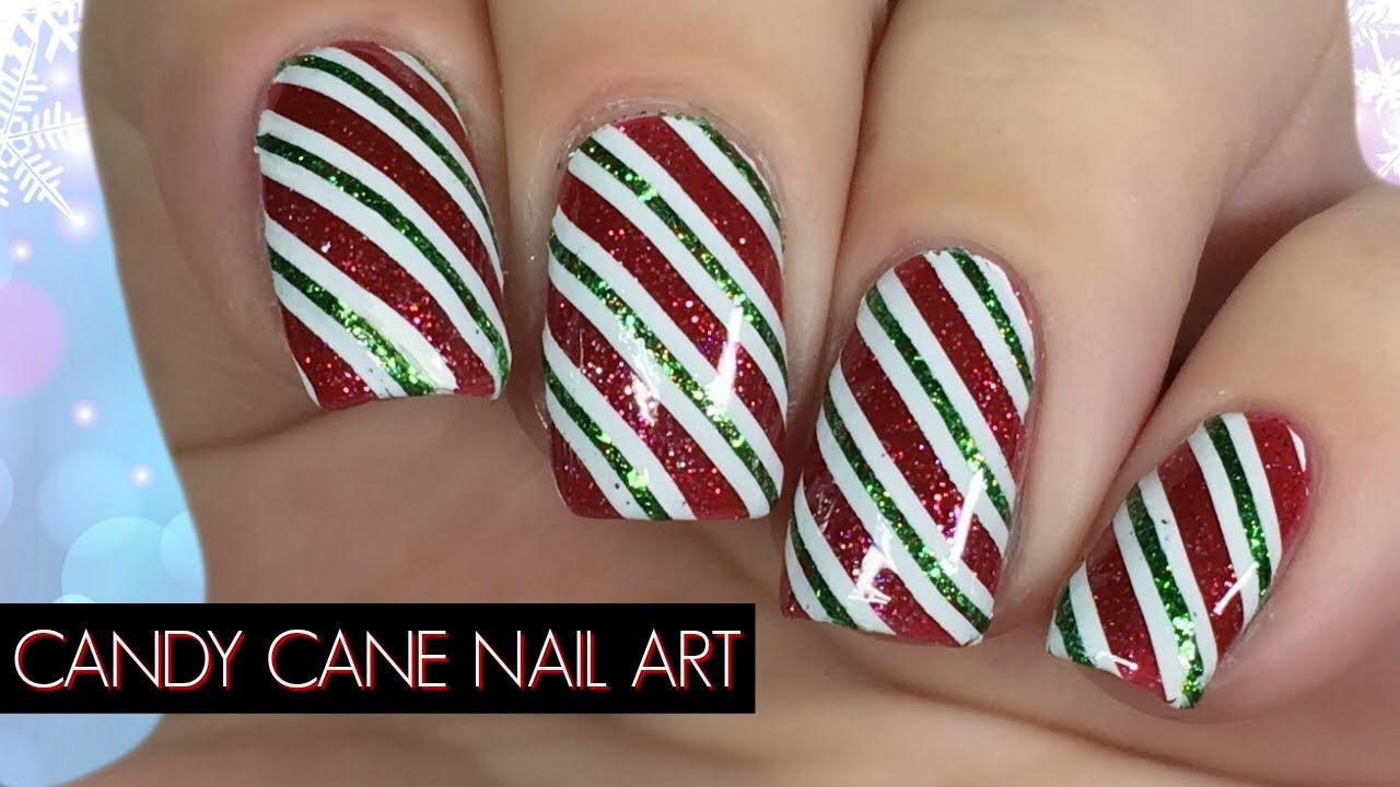 candy cane christmas nail art tutorial