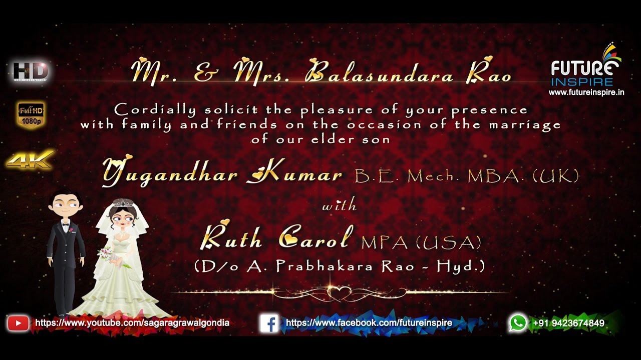 Yugandhar Kumar weds Ruth Carol - Christian Wedding Invitation Video ...