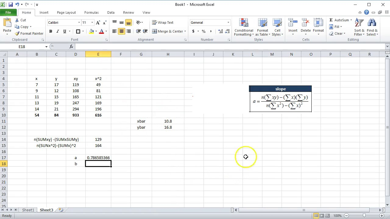 Calculating a Line of Best Fit in Excel - YouTube