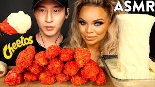 ASMR HOT CHEETOS CHICKEN WINGS & STRETCHY CHEESE with TRISHA PAYTAS (No Talking) MUKBANG | Zach Choi