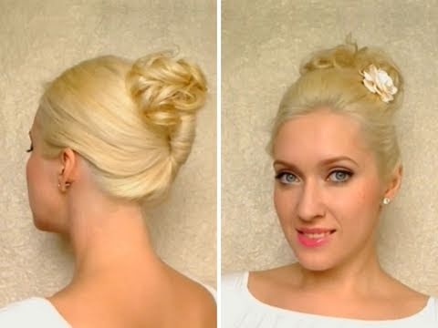 easy work updo hairstyle medium