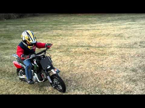 William riding his dirt bike.