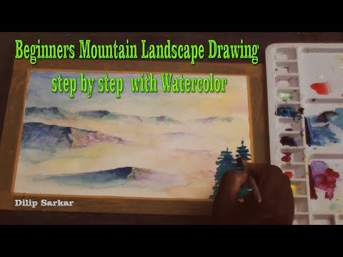 Beginners Mountain Landscape Drawing step by step  with Watercolor