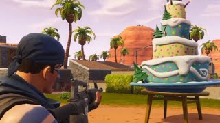 FORTNITE PARADISE PALMS BIRTHDAY CAKE LOCATION! Dance infront of Birthday Cakes!