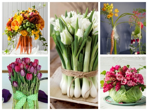 Spring Flower and Veggie Arrangements Ideas - Vegetable Centerpieces Inspo - Spring Decor Ideas