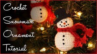 Crochet Snowman Ornament Tutorial!!