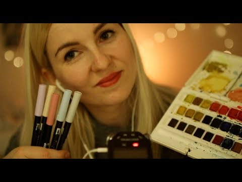 ASMR Showing You My Bullet Journal Supplies 📓🎨🖌 Sanftes Whispering & Tapping  ☾ german/deutsch