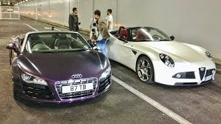 alfa romeo 8c chasing audi r8 v10 in monaco loud tunnel runs