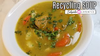 Recycling Soup, Making soup with my last dinner green split peas, Veggies, chicken I Lorentix