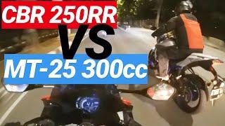 Honda CBR250RR Stage 1 VS Yamaha MT-25 (300cc) Midnight Run