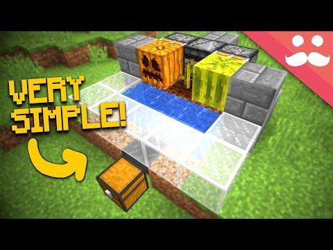 Simple Auto MELON & PUMPKIN FARMS In Minecraft 1.13!
