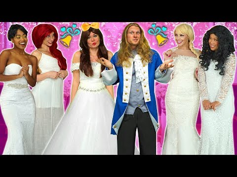 ALL DISNEY PRINCESSES WANT TO MARRY PRINCE ADAM Frozen Elsa Belle Ariel Moana and Tiana