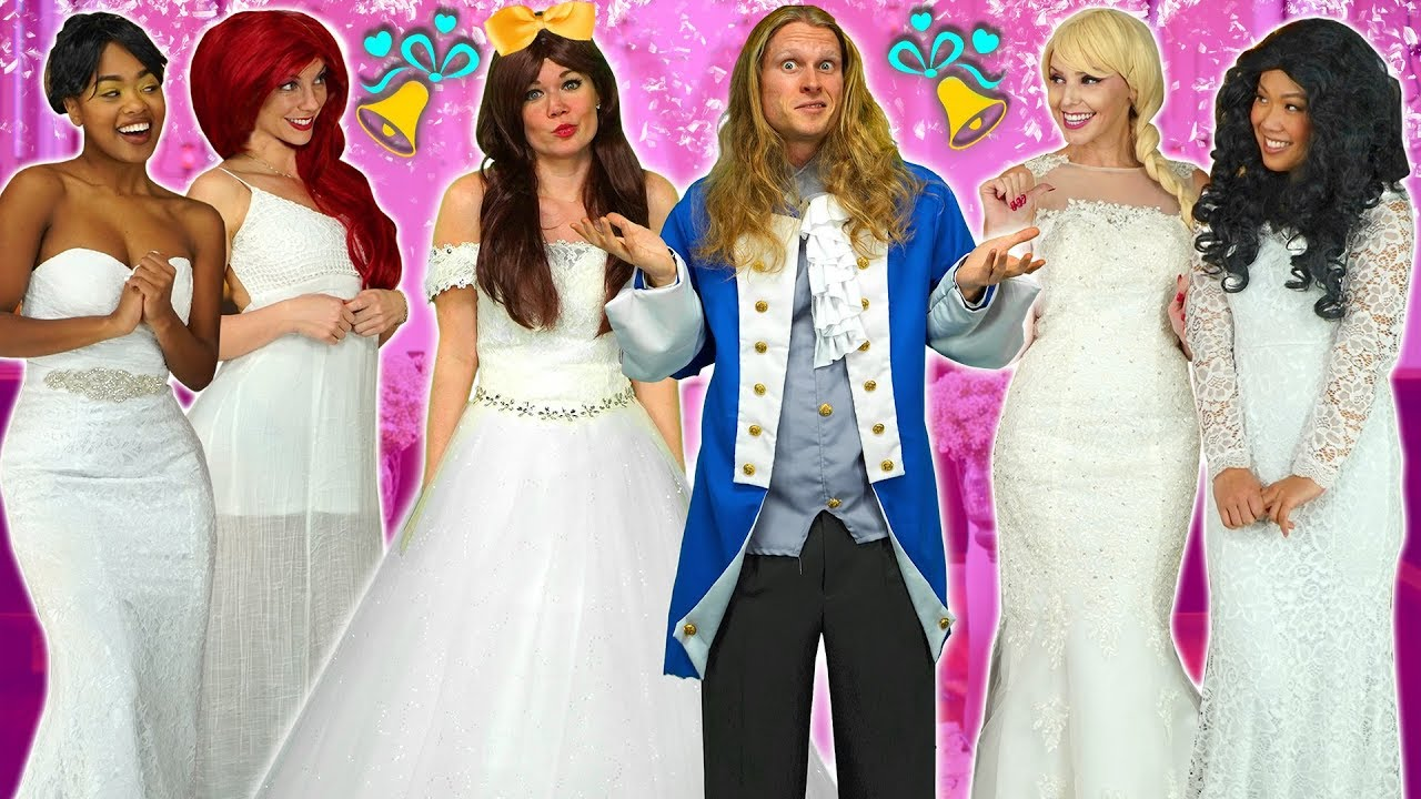 ALL DISNEY PRINCESSES WANT TO MARRY PRINCE ADAM  (Frozen Elsa, Belle,  Ariel, Moana and Tiana)