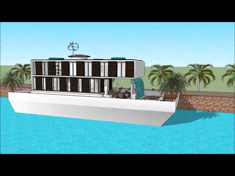 Houseboat design architect Los Angeles in USA luxury floating barge project construction at sea uniq