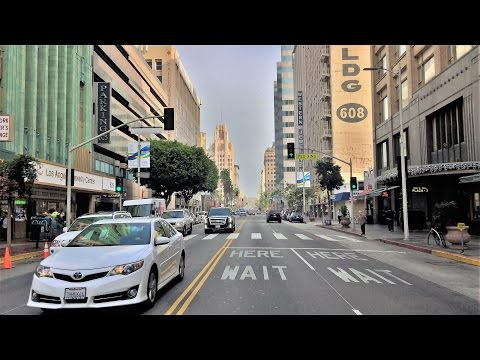 Driving Downtown - LA's Jewelry District - Los Angeles California USA