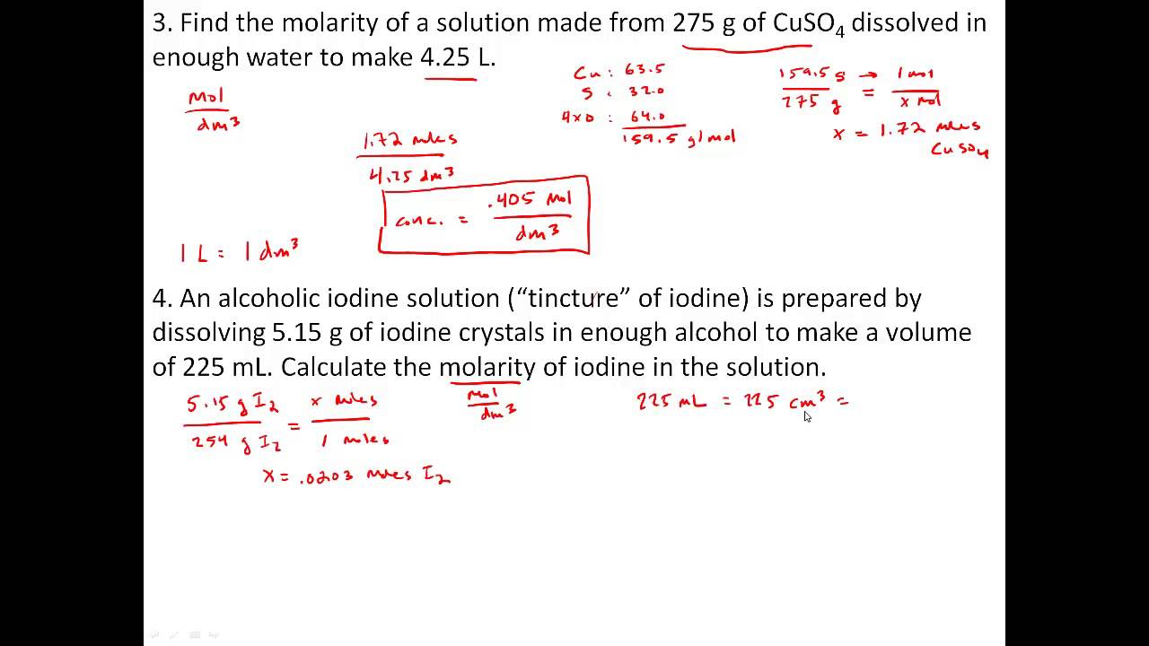 Practice Problems with Solutions, Concentration and Molarity - YouTube