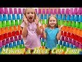 Building a Giant Rainbow Cup Fort! 1000 Plastic Cups!!!