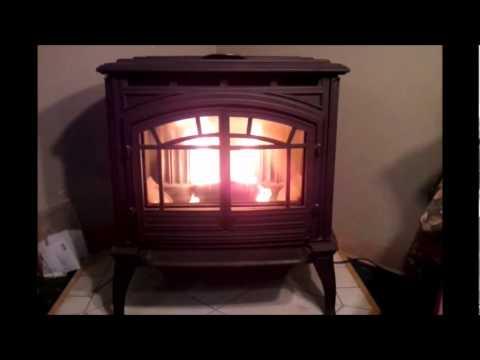 Enviro M55 Cast Pellet Stove Burning.wmv