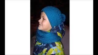 Модная шапочка спицами // вяжем детскую шапку-видео урок
