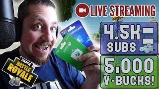 🔴 Giving Away V-Bucks @ 4.5K SUBS!!! [Fortnite] LIVE