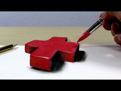 Trick Art on Paper, Painting 3D red cross