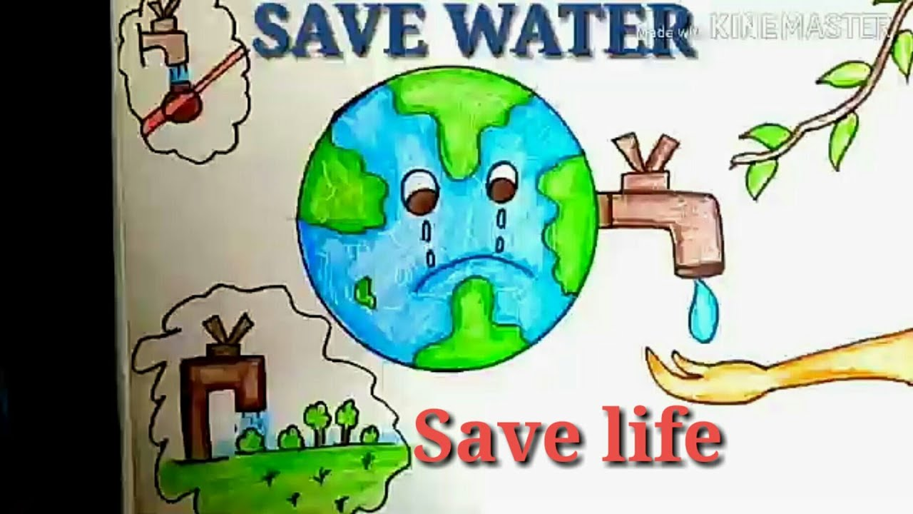 How To Draw Save Water Save Trees Save Nature Drawing Poster For Kids Youtube