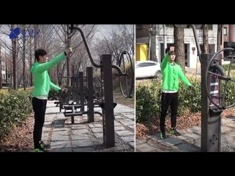양재천 공원 운동기구 사용법 - 양팔줄당기기