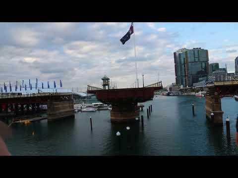 Pyrmont Bridge open to allow ships to pass