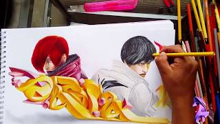GRAFFITI  3D sketch iori vs kyo The King Of Fighters 2002