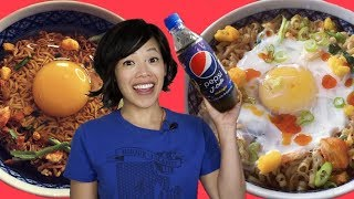 MIDNIGHT PEPSI & Akuma no Kimura Ramen - noodles hold a raw egg that poaches while noodles cook