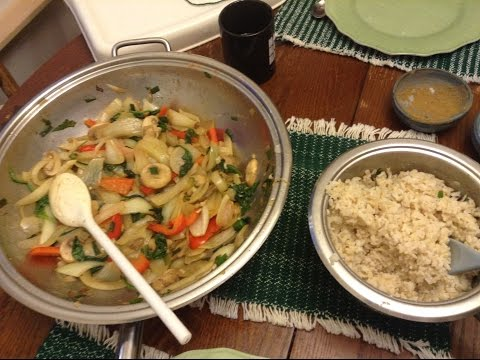 Vegan Stirfry and Brown rice for dinner with Nancy Today Funny