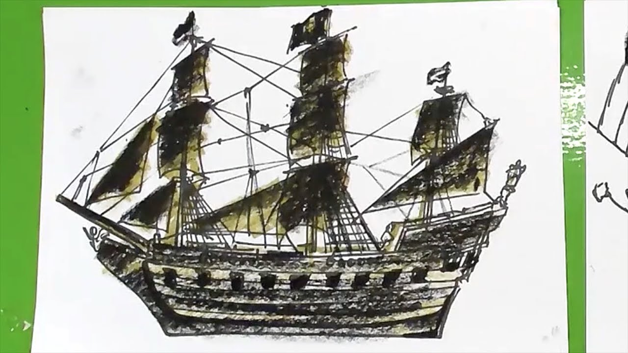 How to draw a pirate ship Black Pearl - YouTube