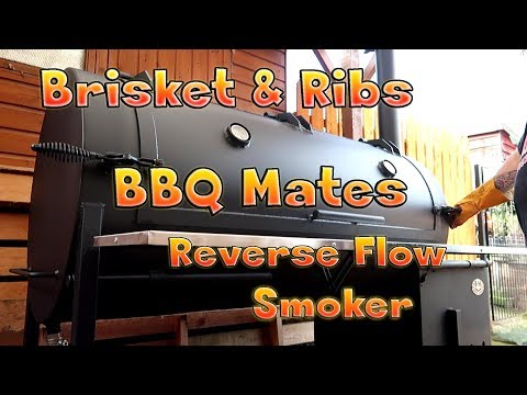 Brisket And Ribs On The New BBQ Mates BM S-5 Reverse Flow Offset Smoker/Cooker/Grill.