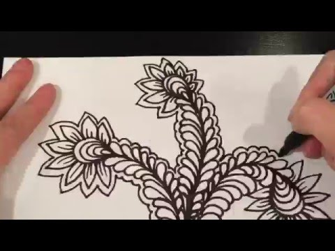 Vines, flowers \u0026 Curly Qs (Speed Drawing, Doodling, Zentangle, tangles,  Youtube, video)