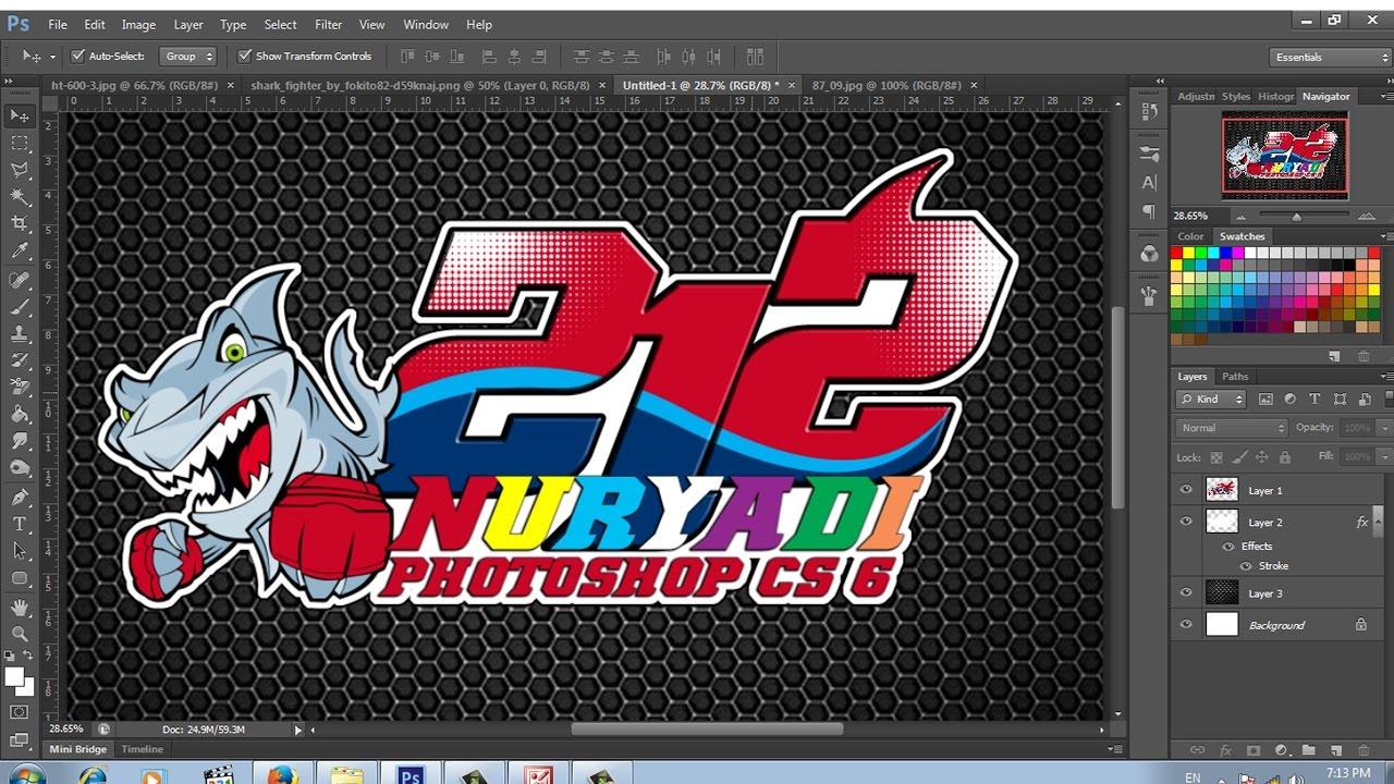 Cara desain stiker nomor star racing